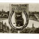 RPPC GLASGOW GOOD LUCK CAT BUCHANAN ST BRIDGE POSTCARD