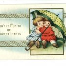 SWEETHEARTS UNDER POLKA DOT  UMBRELLA  POSTCARD