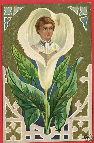 EASTER CROSS ALTER BOY LILY  POSTCARD