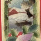MERRY CHRISTMAS DOCK HOUSE  DEEPLY EMBOSSSED POSTCARD