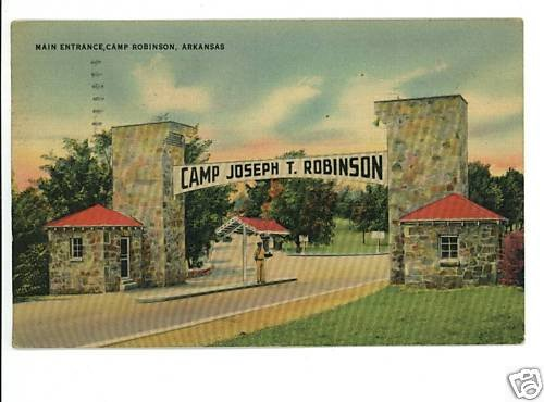 CAMP ROBINSON ARKANSAS AR ENTRANCE '43 US ARMY POSTCARD