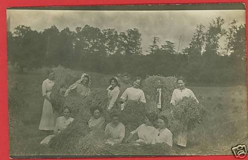 RPPC PEOPLE IN HAYSTACK STRAW FARM FARMING  RP POSTCARD