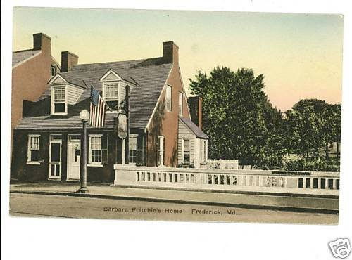 FREDERICK MD FRITCHIE'S HOME HAND COLORED POSTCARD