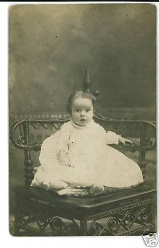 RPPC BABY IN FANCY CORNER CHAIR REAL PHOTO POSTCARD