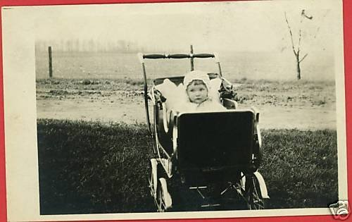 RPPC BABY IN BABY BUGGY OUTSIDE REAL PHOTO POSTCARD