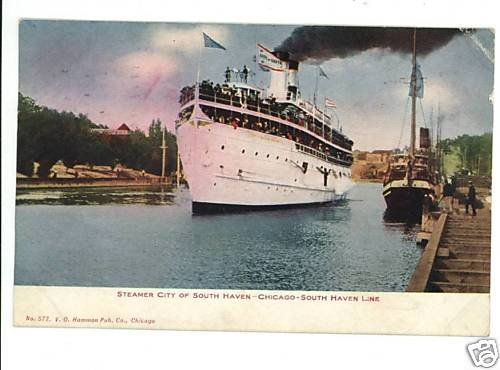 STEAMSHIP CITY OF SOUTH HAVEN CHICAGO LINE POSTCARD '08