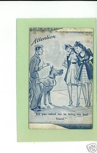 U S ARMY COMIC  BLOTTER CARD  SOLDIER BEST FRIEND 1941