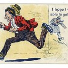 MAN CHASED BY POLICEMAN POLICE BILLY CLUB 1907 POSTCARD