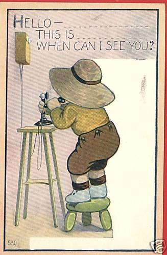 SUN HAT BOY WITH WALL & CANDLESTICK TELEPHONE POSTCARD
