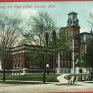 LANSING MICHIGAN CARNEGIE LIBRARY HIGH SCHOOL POSTCARD