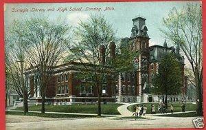LANSING MICHIGAN CARNEGIE LIBRARY HIGH SCHOOL POSTCARD