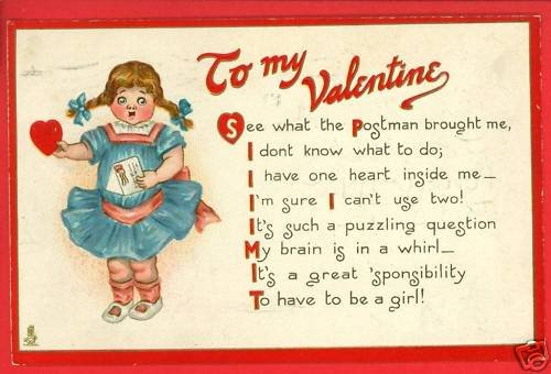 TUCK VALENTINE FIRST LOVE GIRL POSTMAN 1913  POSTCARD