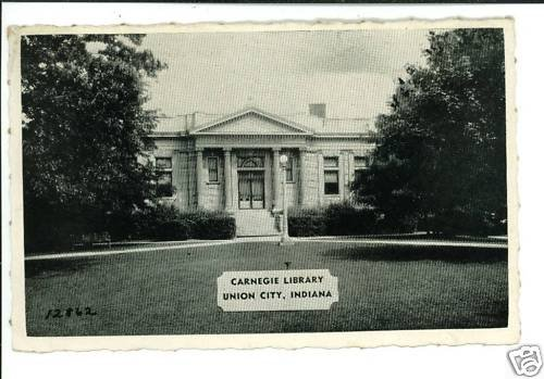 UNION CITY IN INDIANA CARNEGIE LIBRARY TIBBETS POSTCARD