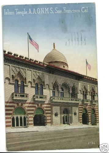 ISLAM TEMPLE SAN FRANCISCO CALIFORNIA POSTCARD AAONMS