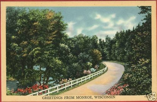 MONROE WI WISCONSIN GREETINGS FROM ROAD  POSTCARD