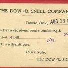 TOLEDO OH OHIO DOW SNELL COMPANY 1909  POSTCARD