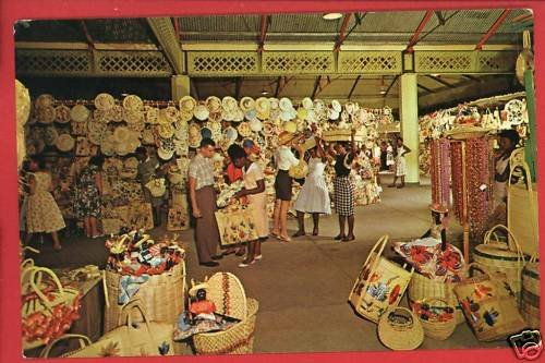 KINGSTON JAMAICA VICTORIA MARKET STRAW SECTION POSTCARD