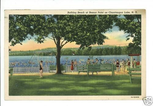 CHATAUQUA LAKE NY NEW YORK BEMUS PT BEACH '39  POSTCARD
