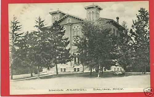 SALINE MICHIGAN  UNION SCHOOL  1909 WHEELER POSTCARD