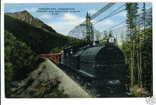 CASCADE MTNS. WA WASHINGTON TRAIN RAILROAD POSTCARD