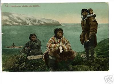 ESKIMOS OF ALASKA & SIBERIA - S.S. QUEEN  POSTCARD 1934
