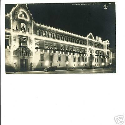 RPPC Mexico Palacio Nacional at night 1941 Truck