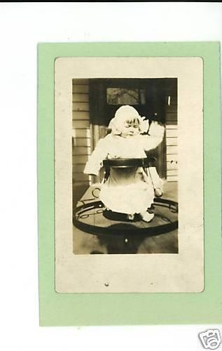 REAL PHOTO POSTCARD BABY IN WALKER  RPPC