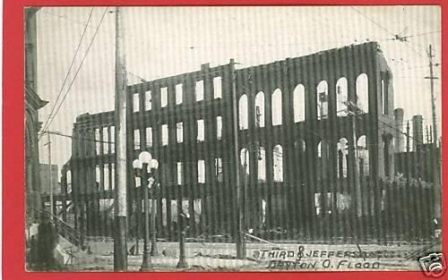 DAYTON OHIO OH FLOOD THIRD & JEFFERSON 1913 POSTCARD