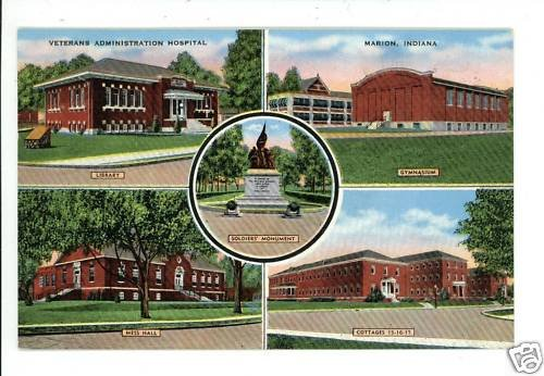 MARION INDIANA IN VETERAN'S ADM HOSPITAL POSTCARD