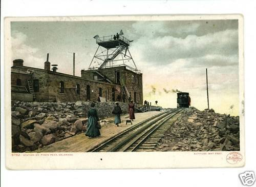 PIKE'S PEAK CO RAILROAD STATION DET PUB 1901  POSTCARD