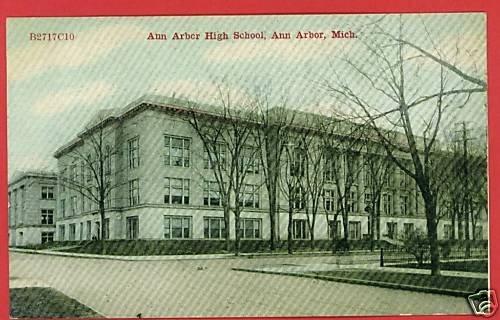 ANN ARBOR MICHIGAN HIGH SCHOOL POSTCARD