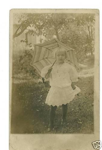 RPPC GIRL PARASOL NECKLACE PENDANT STOCKINGS RPPC