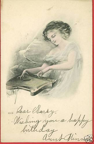 HA WEISS WOMAN WITH AUTOHARP BEAUTIFUL POSTCARD WEIS