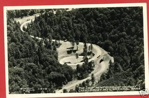 RPPC THE LOOP NEWFOUNDGAP TENNESSEE CLINE 1936 POSTCARD