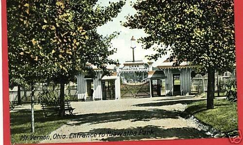 MT VERNON OHIO LAKE HIAWATHA PARK WOOLSON'S  POSTCARD