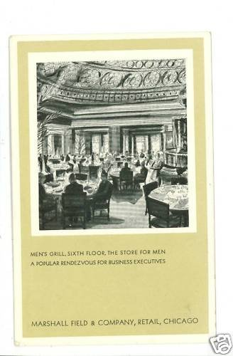 CHICAGO IL MARSHALL FIELD MEN'S GRILL INTERIOR POSTCARD