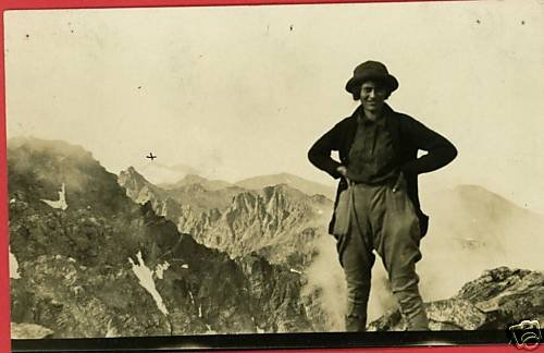 RPPC WOMAN IN MOUNTAINS HIKING PANTS REAL PHOTO POSTCRD