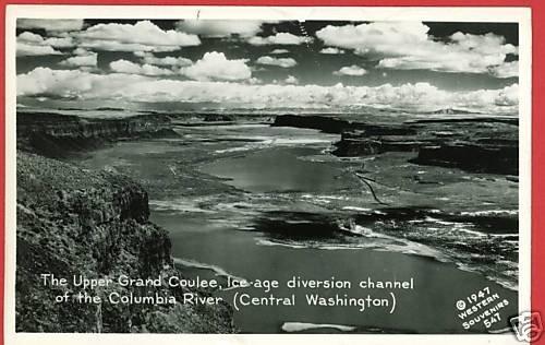 RPPC UPPER GRAND COULEE WASHINGTON  RIVER 1947 POSTCARD