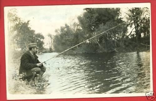 RPPC MAN FISHING POLE ROD REEL TINTED RP POSTCARD
