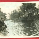 RPPC MAN FISHING POLE ROD REEL TINTED RP POSTCARD