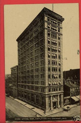 CINCINNATI OHIO OH SECOND NATIONAL BANK 1910  POSTCARD