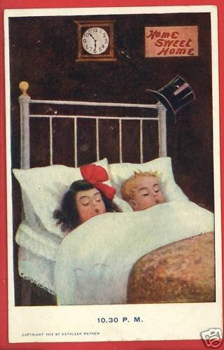 BOY GIRL IN BED HOME SWEET HOME CLOCK K MATHEW POSTCARD