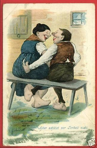 GERMAN COUPLE ON BENCH RISQUE NICHT  HUBER A/S POSTCARD