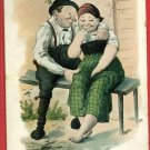 GERMAN COUPLE ON BENCH RISQUE BIST  HUBER A/S POSTCARD