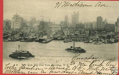 NEW YORK SKYLINE BROOKLYN STEAM SHIPS 1907  POSTCARD
