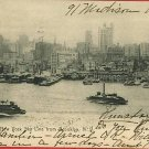 NEW YORK SKYLINE BROOKLYN STEAM SHIPS 1907  POSTCARD
