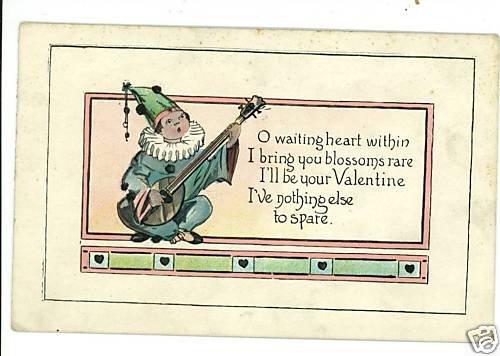 VALENTINE  MANDOLIN  SERENADE  POSTCARD MUSICAL MUSIC