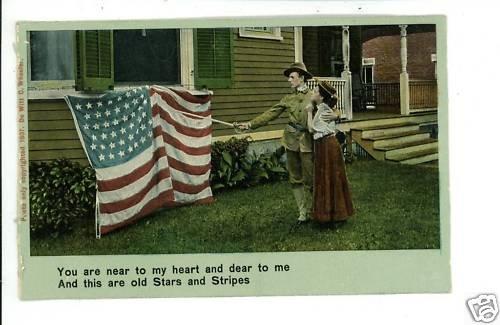 ILLUSTRATED SONG PATRIOTIC STARS STRIPES FLAG  POSTCARD