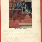 MAN PAINTER PAINTING EXTERIOR KISSING WOMAN POSTCARD