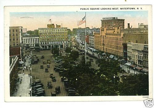 WATERTOWN NEW YORK PUBLIC SQUARE POSTCARD 1928